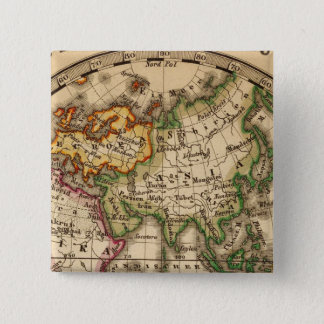 Engraved Eastern Hemisphere Map 15 Cm Square Badge