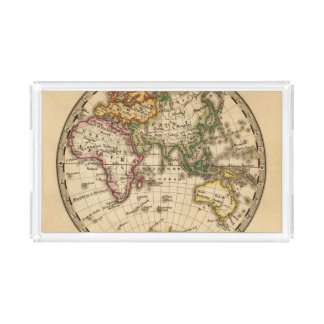 Engraved Eastern Hemisphere Map Acrylic Tray