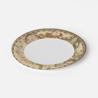 Engraved Eastern Hemisphere Map Paper Plate