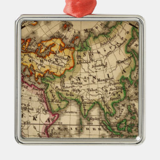 Engraved Eastern Hemisphere Map Silver-Colored Square Decoration