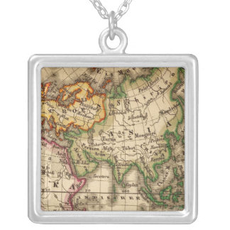 Engraved Eastern Hemisphere Map Silver Plated Necklace