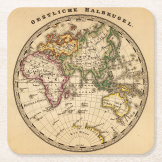 Engraved Eastern Hemisphere Map Square Paper Coaster
