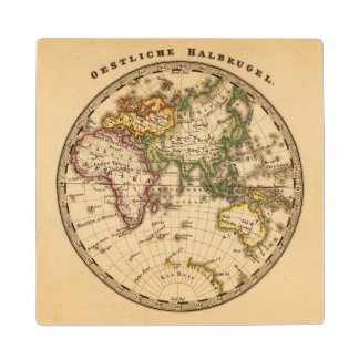 Engraved Eastern Hemisphere Map Wood Coaster