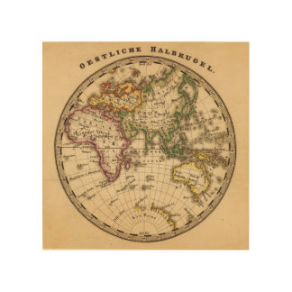 Engraved Eastern Hemisphere Map Wood Wall Decor