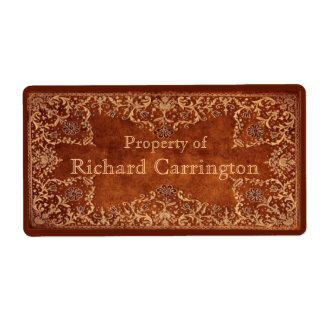 Engraved Gilt Leather Effect Personal Stickers Shipping Label