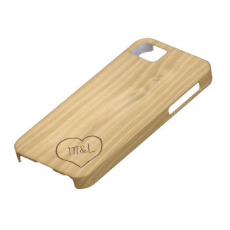 Engraved Heart and Initials on Wood Grain texture Barely There iPhone 5 Case