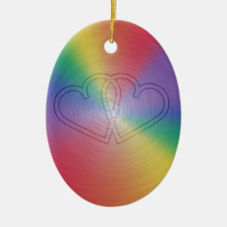 Engraved hearts in rainbow brushed steel plate christmas ornament