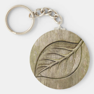 Engraved leaf key ring