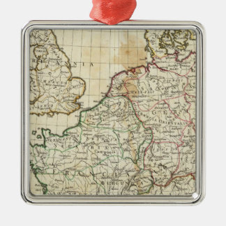 Engraved Map of Europe Silver-Colored Square Decoration