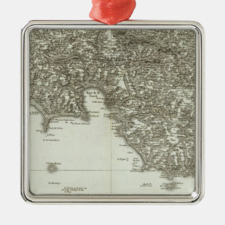 Engraved map of France 2 Silver-Colored Square Decoration