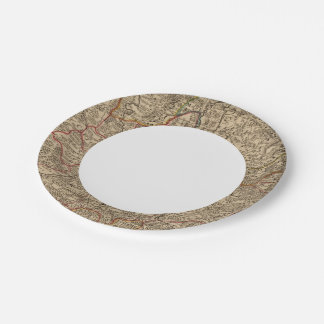 Engraved map of France Paper Plate