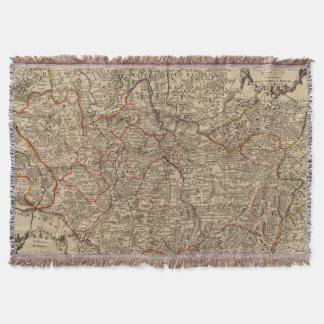 Engraved map of France Throw Blanket