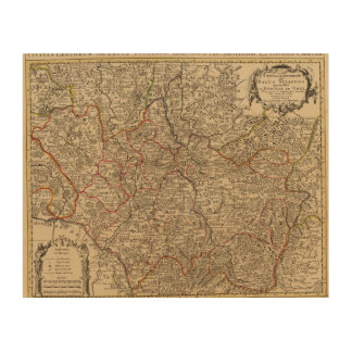Engraved map of France Wood Print