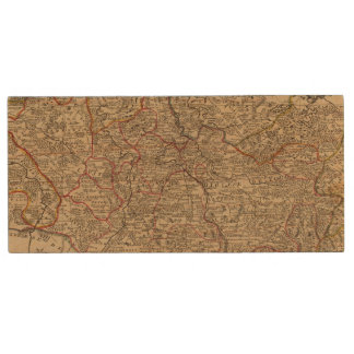 Engraved map of France Wood USB Flash Drive