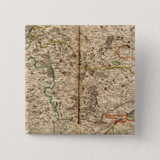 Engraved map of Germany's forests 15 Cm Square Badge