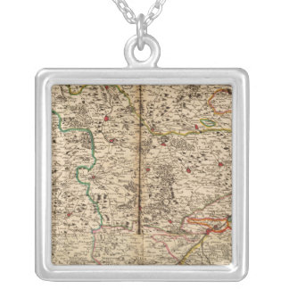 Engraved map of Germany's forests Square Pendant Necklace