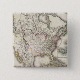 Engraved Map of North America 15 Cm Square Badge