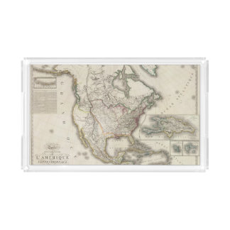 Engraved Map of North America Acrylic Tray