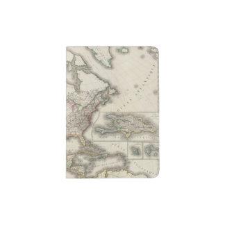 Engraved Map of North America Passport Holder