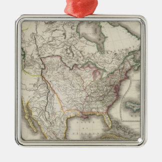 Engraved Map of North America Silver-Colored Square Decoration