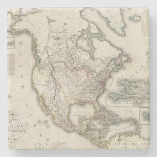Engraved Map of North America Stone Coaster