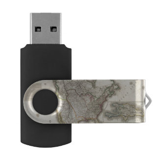 Engraved Map of North America USB Flash Drive