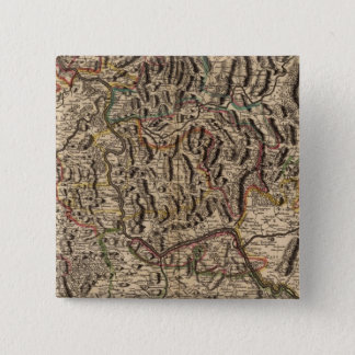 Engraved map of Rhine River Valley 15 Cm Square Badge