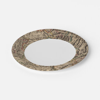 Engraved map of Rhine River Valley Paper Plate