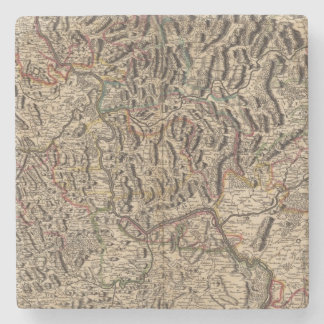 Engraved map of Rhine River Valley Stone Coaster