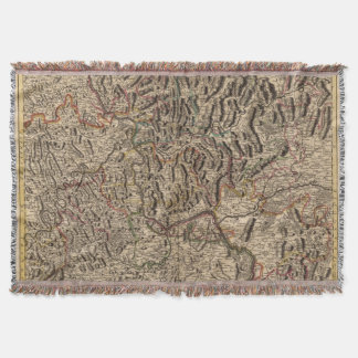 Engraved map of Rhine River Valley Throw Blanket