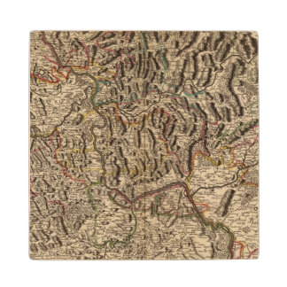 Engraved map of Rhine River Valley Wood Coaster