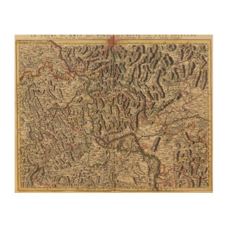 Engraved map of Rhine River Valley Wood Wall Art