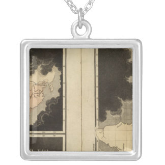 engraved maps of the world silver plated necklace