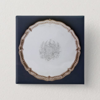 Engraved salver, 18th century 15 cm square badge