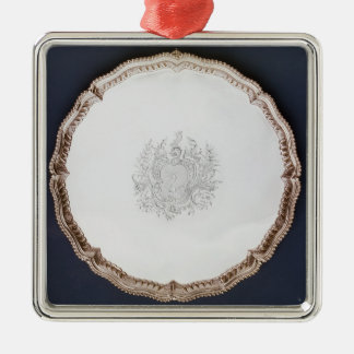 Engraved salver, 18th century Silver-Colored square decoration