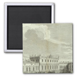 Engraved View of Saint Petersburg 3 Square Magnet