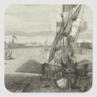 Engraved View of Saint Petersburg 4 Square Sticker