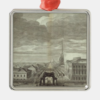 Engraved View of Saint Petersburg 6 Silver-Colored Square Decoration