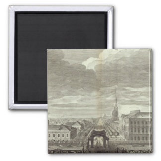 Engraved View of Saint Petersburg 6 Square Magnet