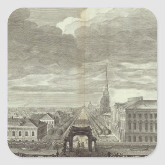 Engraved View of Saint Petersburg 6 Square Sticker