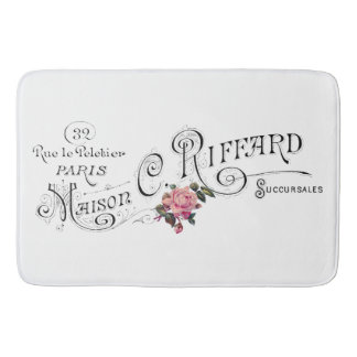 Engraved Vintage French Typography Bath Mat