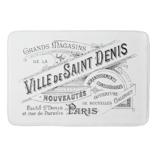 Engraved Vintage French Typography Bath Mats