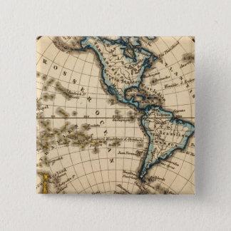 Engraved Western Hemisphere Map 15 Cm Square Badge
