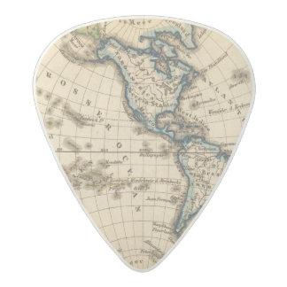 Engraved Western Hemisphere Map Acetal Guitar Pick
