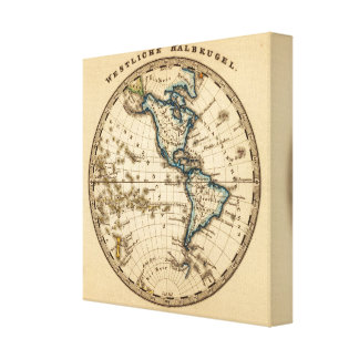 Engraved Western Hemisphere Map Canvas Print