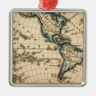 Engraved Western Hemisphere Map Christmas Ornament