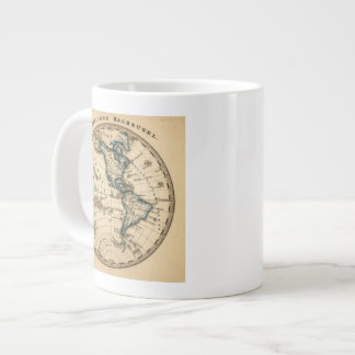 Engraved Western Hemisphere Map Large Coffee Mug