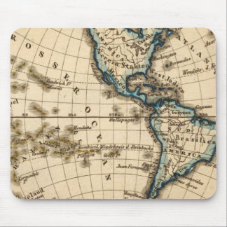 Engraved Western Hemisphere Map Mouse Mat
