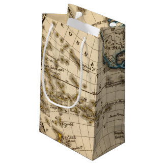 Engraved Western Hemisphere Map Small Gift Bag