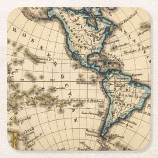 Engraved Western Hemisphere Map Square Paper Coaster